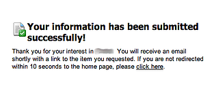 Email as CTA fulfillment is not a best practice IMO - Eloqua example